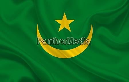 mauritania country flag on wavy silk