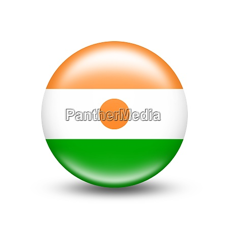 niger country flag in sphere with