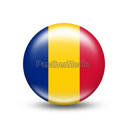 romania country flag in sphere with