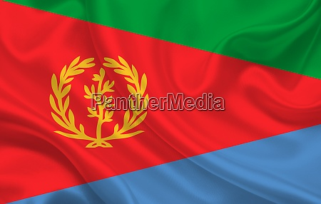 eritrea country flag on wavy silk