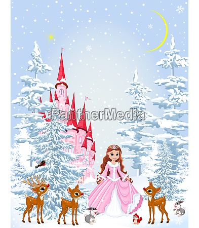 princess and animals in the winter