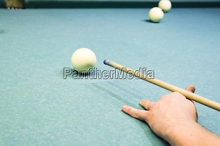 billiards billiard table targeting the cue