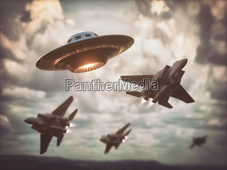 air forces and ufo over the