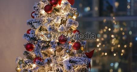 christmas tree decoration at night