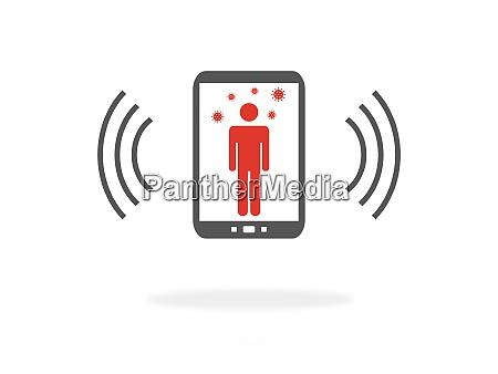 corona app on smartphone showing infected