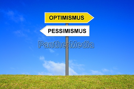 signpost showing optimism and pessimism in