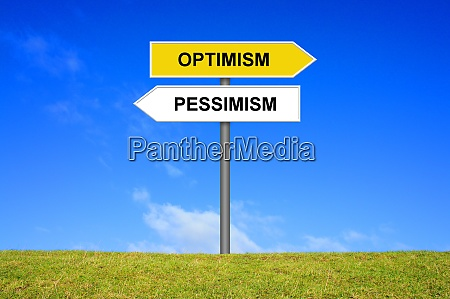 signpost showing optimism and pessimism