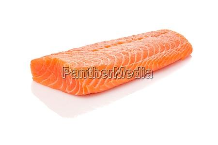 raw orange salmon fish filet white