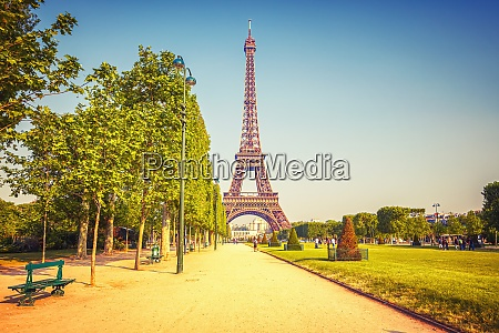eiffel tower over blue sky