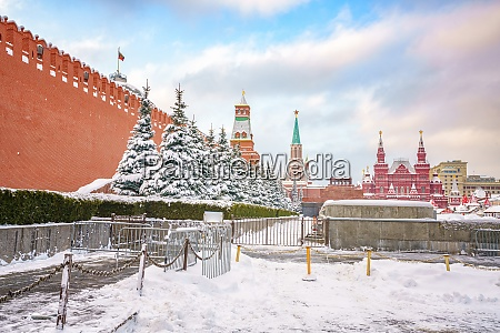 red square in moscow at winter