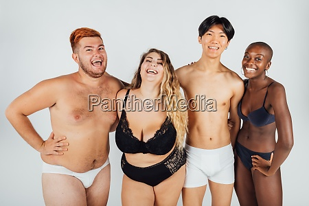 friends laughing wearing underwear