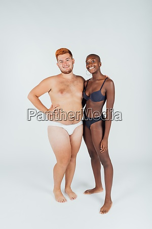 portrait of young couple in underwear