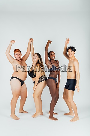 group of young people wearing underwear