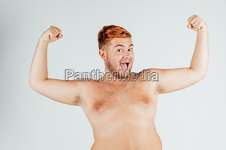 young man with chest bare flexing