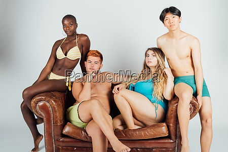 portrait of young people on sofa