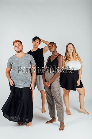 studio portrait of diverse young adults