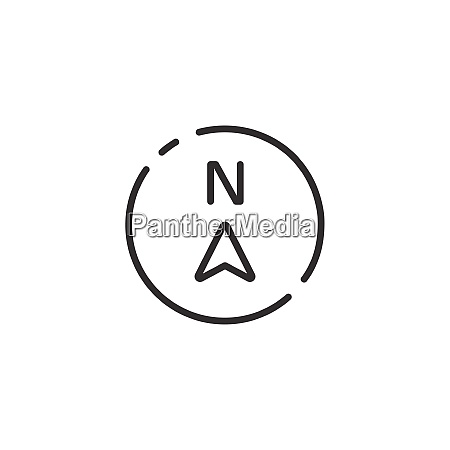 north direction thin line icon isolated
