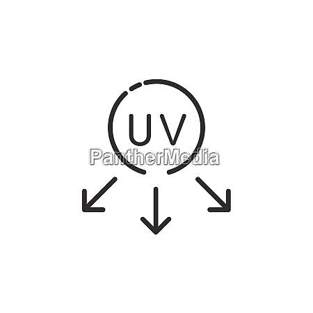 ultraviolet rays sun thin line icon