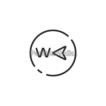 west direction thin line icon isolated