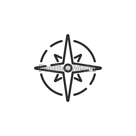 wind rose sign thin line icon