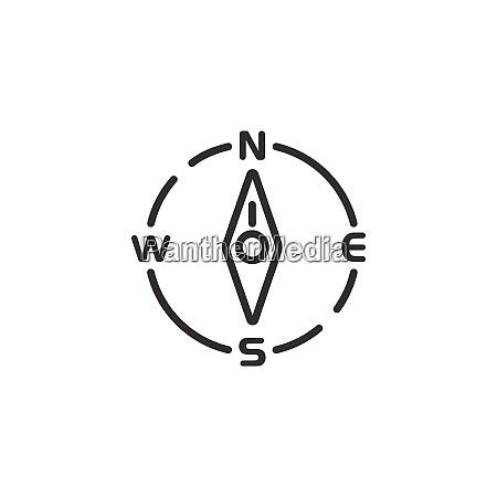 compass, thin, line, icon., north, direction. - 29198952