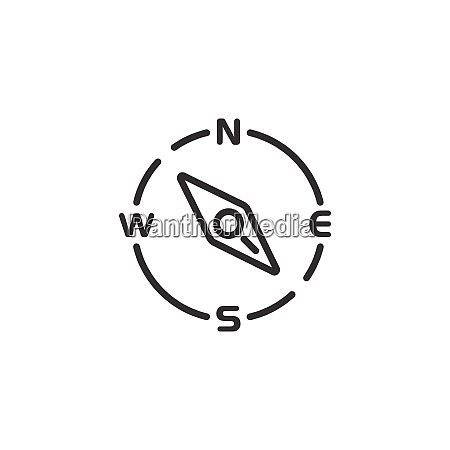 compass, thin, line, icon., south, east - 29198956