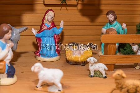 wooden crib christmas crib in