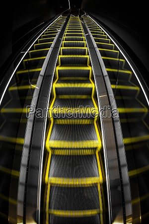 yellow and black of the escalator