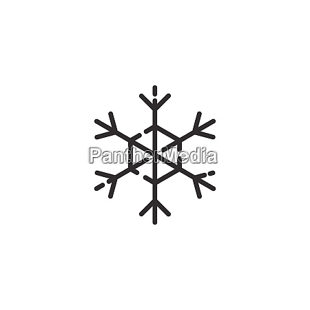 snowflake thin line icon isolated weather