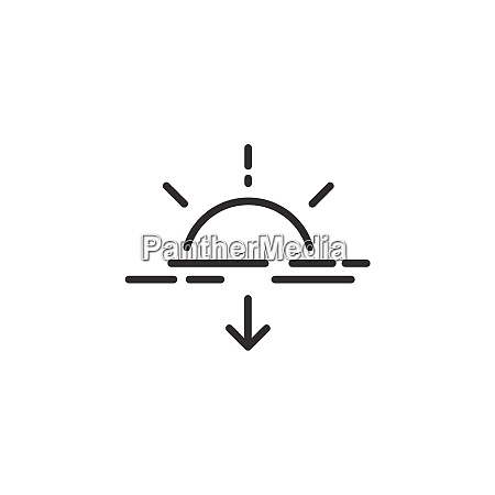 sunset thin line icon isolated weather