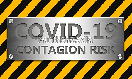 banner with covid 19 warning and