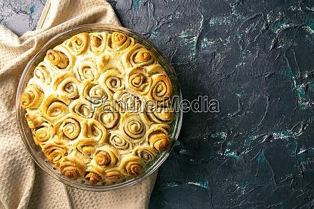 apple pie with cinnamon on retro