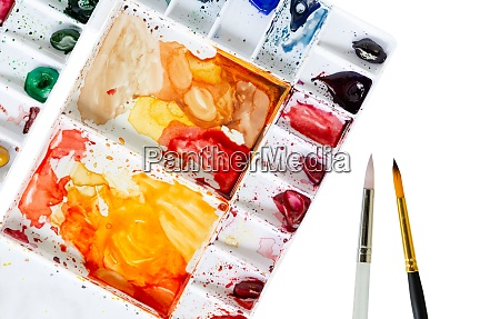 watercolor tray and paintbrush on white