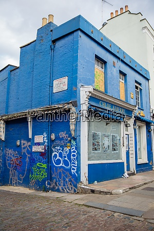 colorful abandoned british shop on a