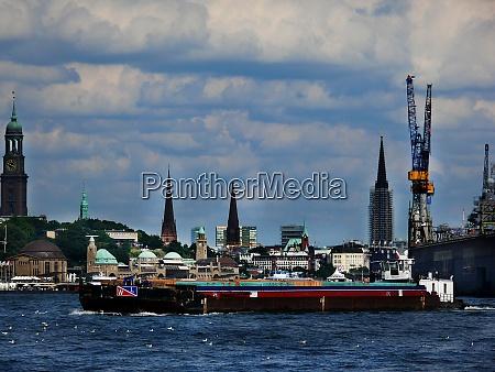hamburg skyline and port