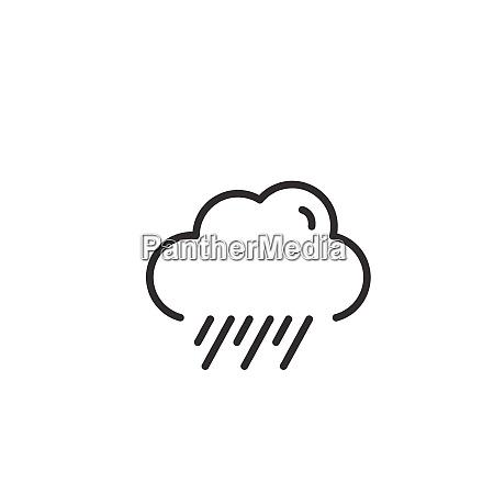 rain and cloud thin line icon