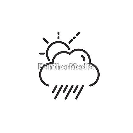 rain cloud and sun weather outline