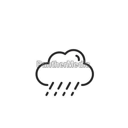 sleet and cloud thin line icon