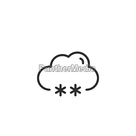 snow and cloud thin line icon