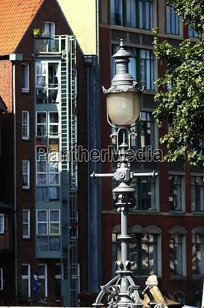 house and street lamp in hamburg