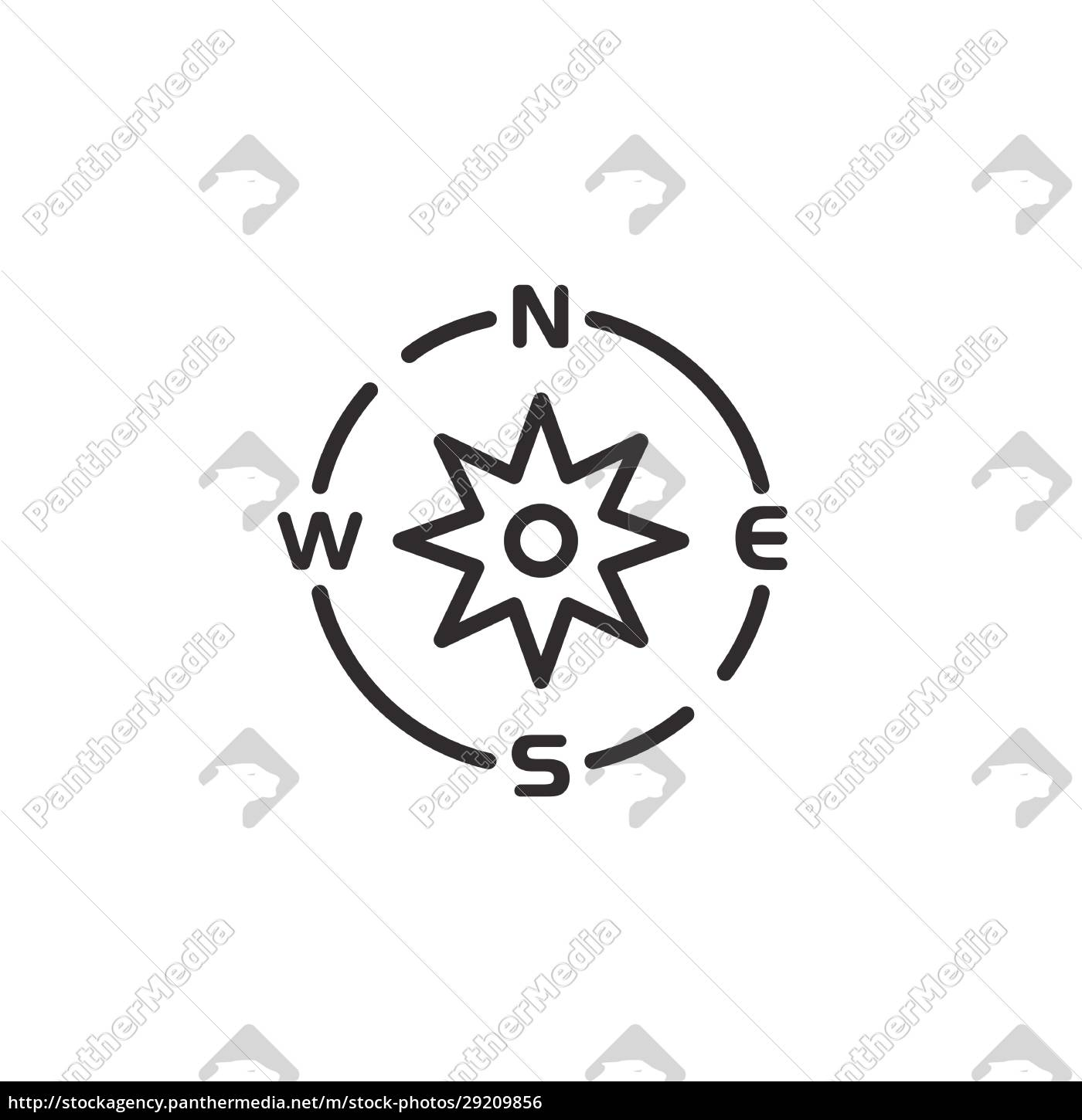 compass, thin, line, icon., isolated, weather - 29209856