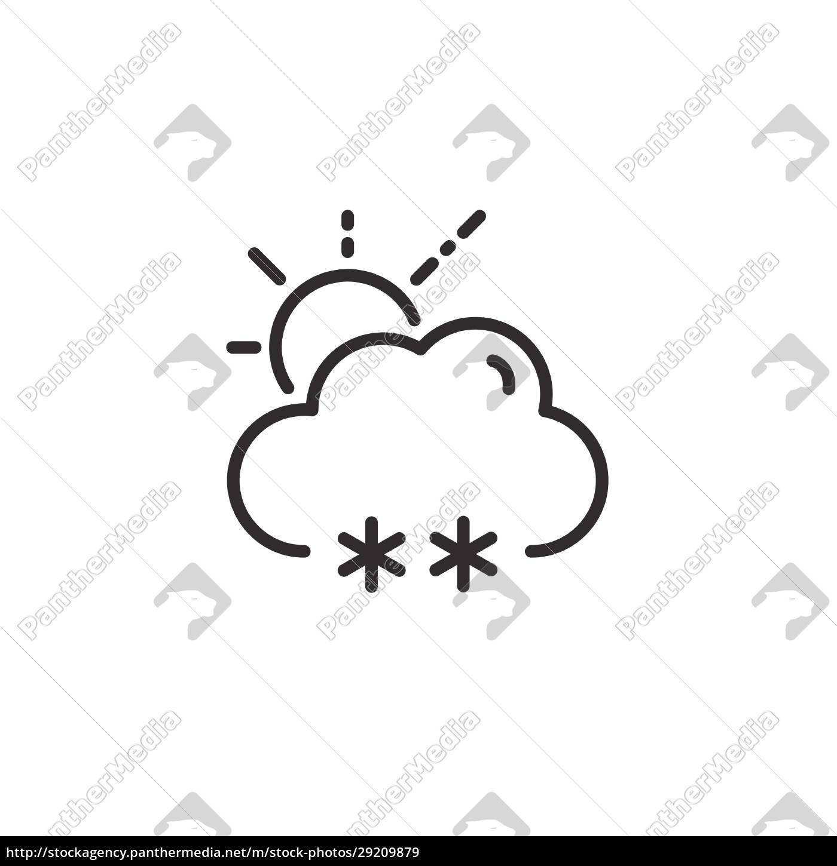 snow, , cloud, and, sun, thin, line - 29209879