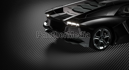 detail of a black supercar on