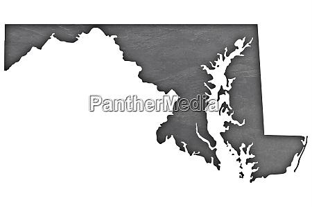 map of maryland on dark slate