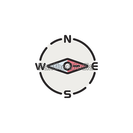 compass east direction filled color icon