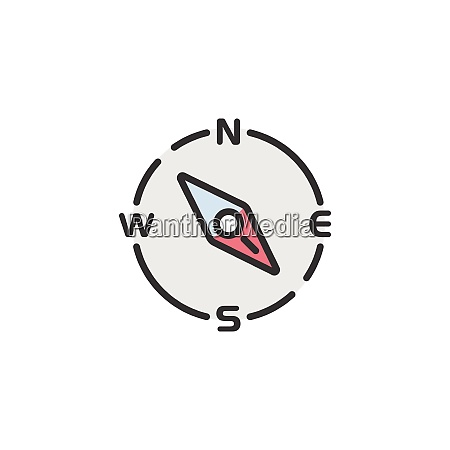 compass south east direction filled color
