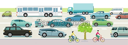 road traffic with cars buses and