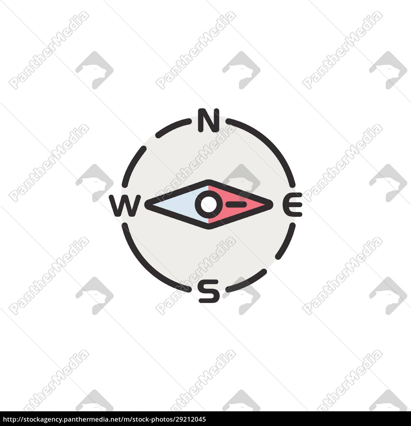 compass, east, direction., filled, color, icon. - 29212045