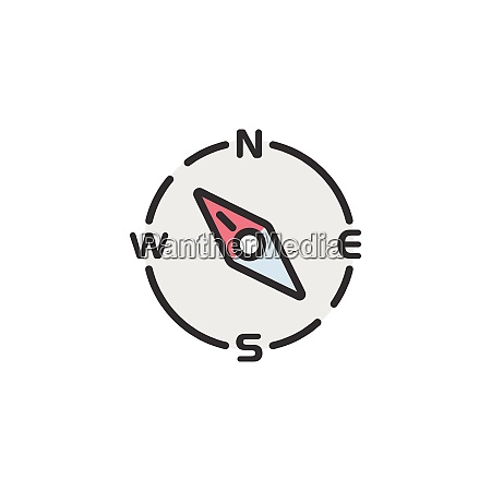 compass, north, west, direction., filled, color - 29212048