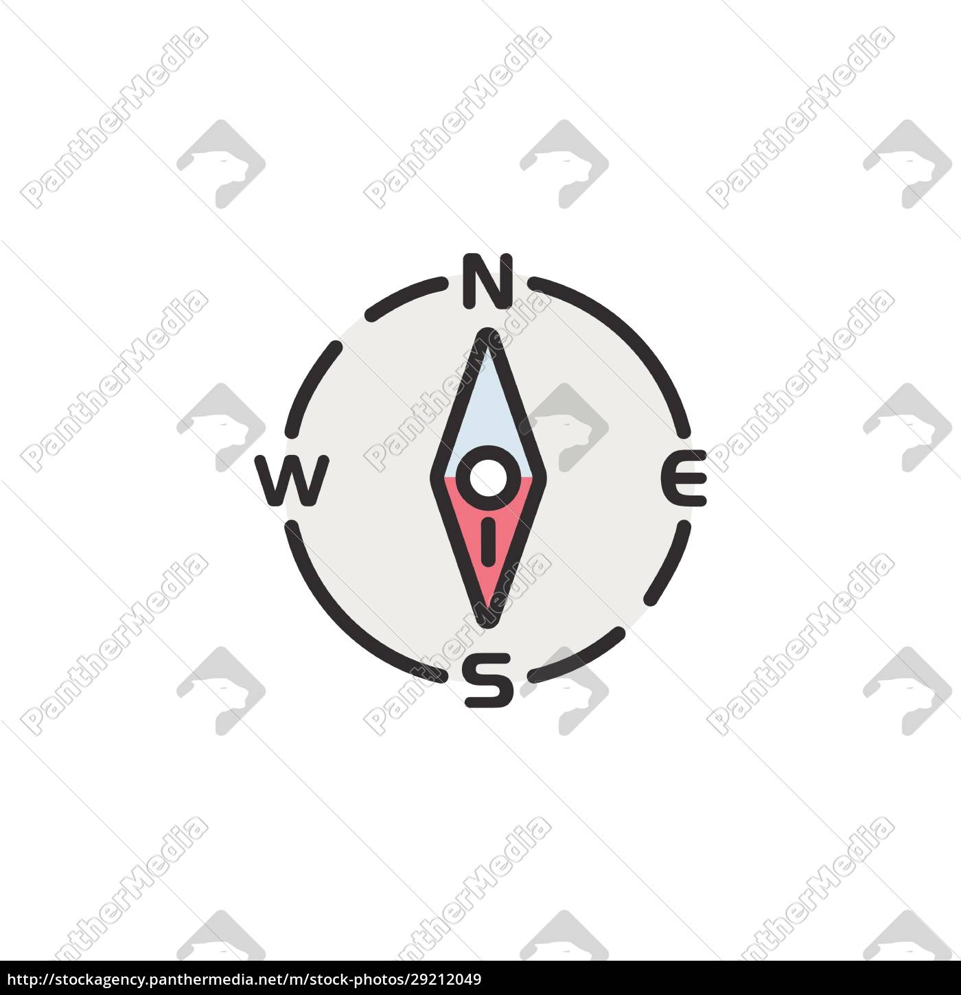 compass, south, direction., filled, color, icon. - 29212049